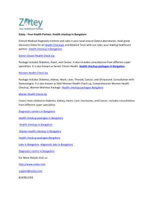 Zotey - Your Health Partner, Health checkup in Bangalore