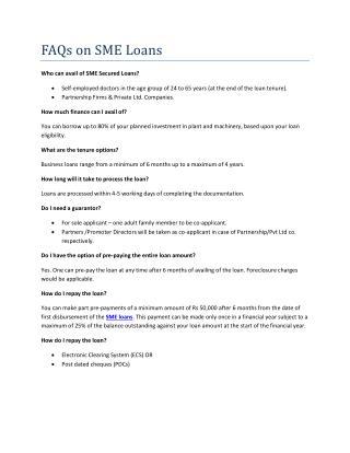 FAQS on SME Loans