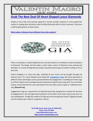 Grab The Best Deal Of Heart Shaped Loose Diamonds