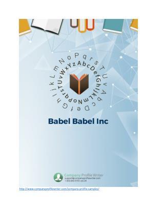 Babel Babel Inc Company Profile Sample
