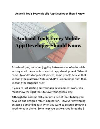 Android Tools Every Mobile App Developer Should Know