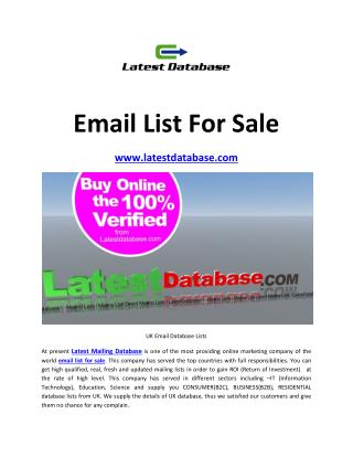 Email List For Sale