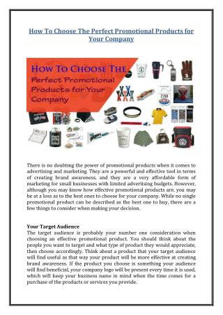How to Choose the Perfect Promotional Products for Your Company