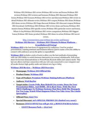 Webinar JEO review and (MEGA) bonuses � Webinar JEO