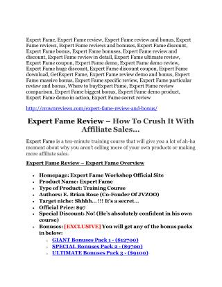 Expert Fame review-$26,800 bonus & discount