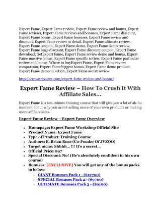 Expert Fame review-$26,800 bonus & discount