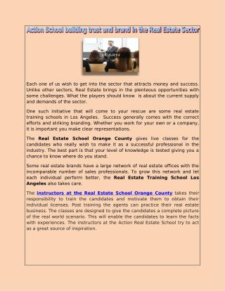 Action School building trust and brand in the Real Estate Sector