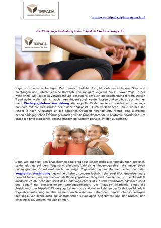 Die Kinderyoga Ausbildung in der Tripada® Akademie Wuppertal