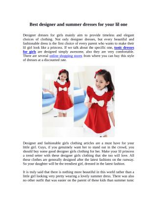 Best Designer and Summer Dresses for your Lil One