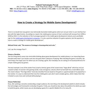 Mobile Game Development Strategy