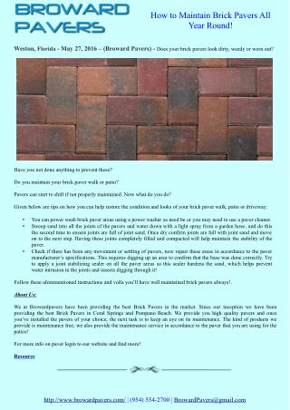 How to Maintain Brick Pavers All Year Round