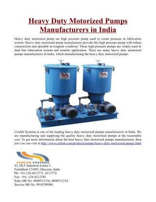 Heavy Duty Motorized Pumps Manufacturers in India
