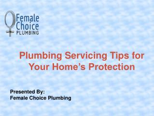 Female Choice Plumbing Servicing Tips for Homes