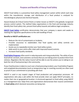 Purpose and Benefits of Haccp Food Safety