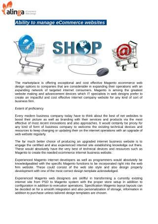 Ability to manage eCommerce websites