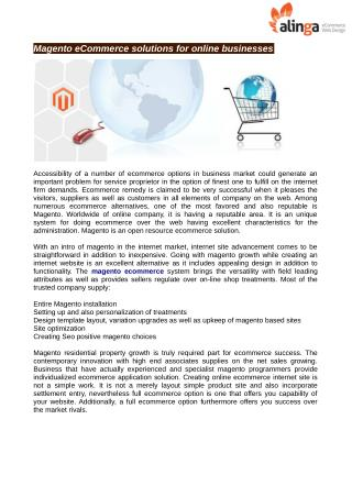 Magento eCommerce solutions for online businesses