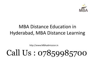 MBA Distance Education in Hyderabad, MBA Distance Learning