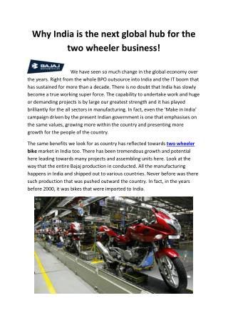 Why India is the next global hub for the two wheeler business