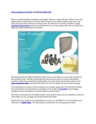 SILO Cartridge Filter , automobile filter, heavy equipment filter, truck filter, oil absorbent spill, electrostatic air