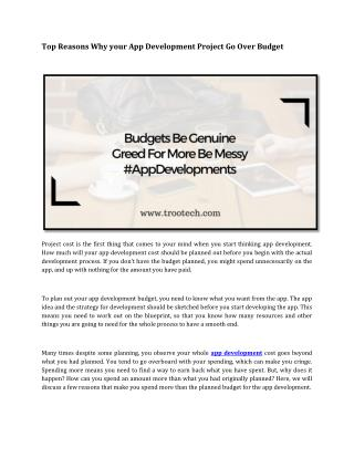 Top Reasons Why Your App Development Project Go Over Budget