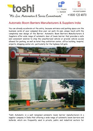 Automatic Boom Barriers Manufacturers & Suppliers India