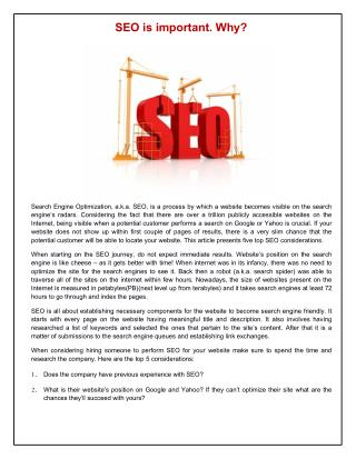 SEO is important. Why?