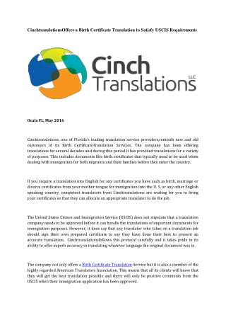 CinchtranslationsOffers a Birth Certificate Translation to Satisfy USCIS Requirements