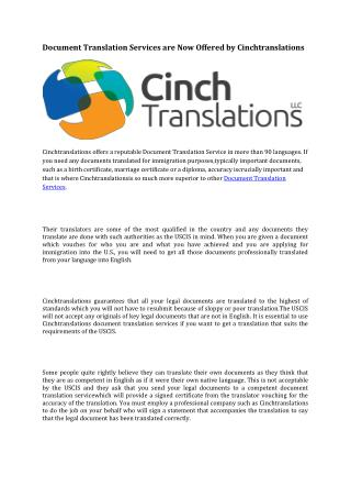 Document Translation Services are Now Offered by Cinchtranslations