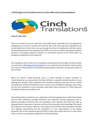 A USCIS Approved Translation Service is Now Offered by Cinchtranslations