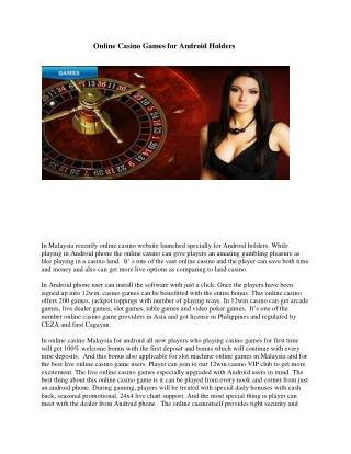 Online Casino Games for Android Holders