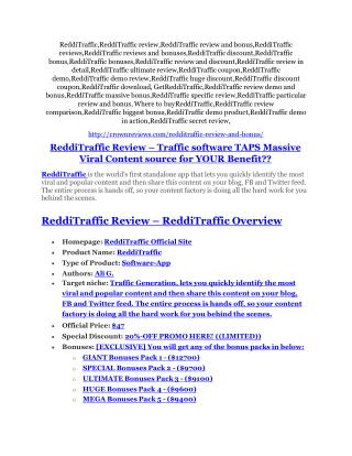 ReddiTraffic Review-(FREE) $32,000 Bonus & Discount