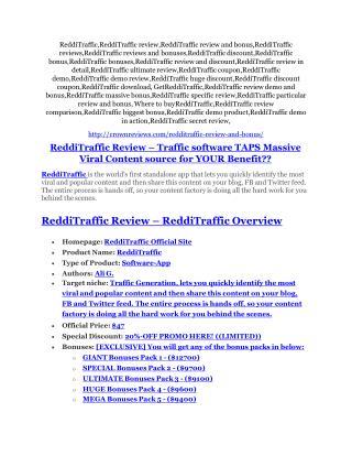 ReddiTraffic Review-(FREE) $32,000 Bonus & Discount