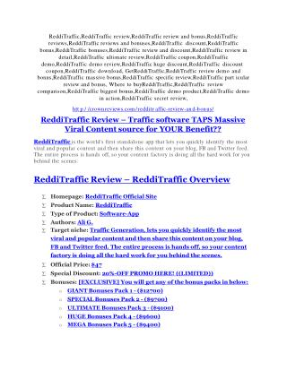 ReddiTraffic Review-(GIANT) bonus & discount