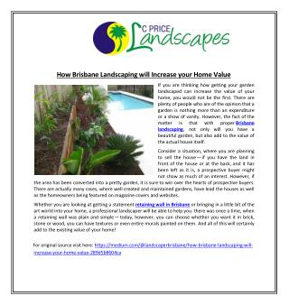 How Brisbane Landscaping Will Increase Your Home Value