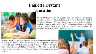 Paulette Dystant - Education