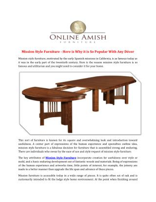Mission Style Furniture - Here is Why it is So Popular With Any Décor