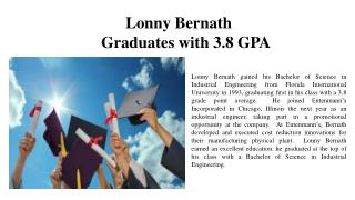 Lonny Bernath - Graduates with 3.8 GPA