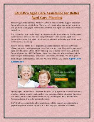 SACFAS�s Aged Care Assistance for Better Aged Care Planning
