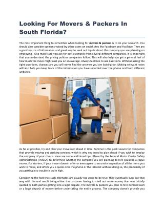 Looking For Movers & Packers In South Florida
