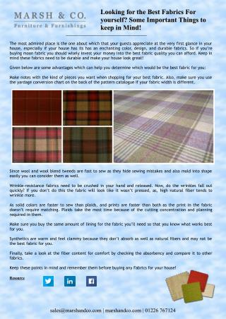 Looking for the Best Fabrics For yourself? Some Important Things to keep in Mind!