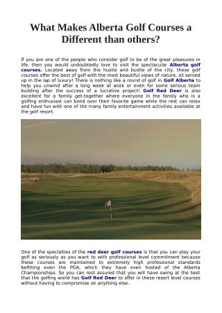 What Makes Alberta Golf Courses a Different than others?