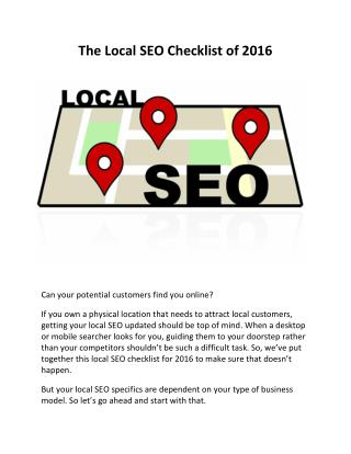 The Local SEO Checklist of 2016