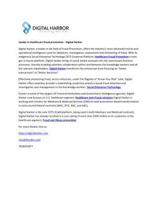 Leader in Healthcare fraud prevention - Digital Harbor