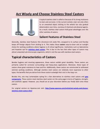 Act Wisely and Choose Stainless Steel Castors