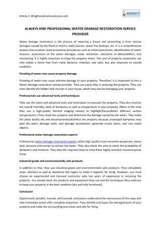 Always Hire Professional Water Damage Restoration Service Provider