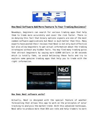Neo2 Squared is a binary option trading software