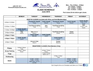 Jun 2016 Class Schedule