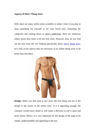 Aspects of Men's Thong Store