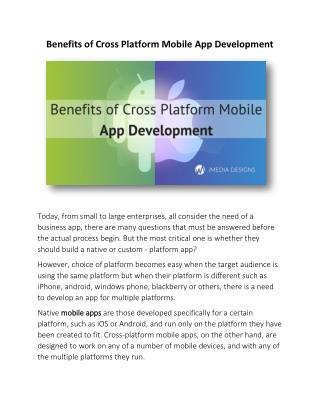Benefits of Cross Platform Mobile App Development