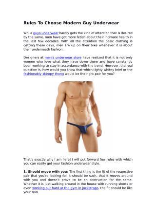 Rules To Choose Modern Guy Underwear